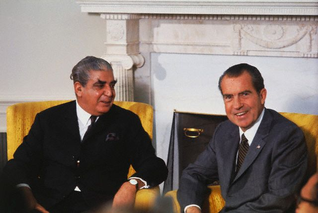 Original caption: Washington, DC.: President Nixon meets with General Agha Yahya Khan, President of Pakistan, at the White House. Khan was among six heads of state to call on Nixon following his banquet 10/24, to mark the 25th anniversary of the United Nations. October 25, 1970 Washington, DC, USA